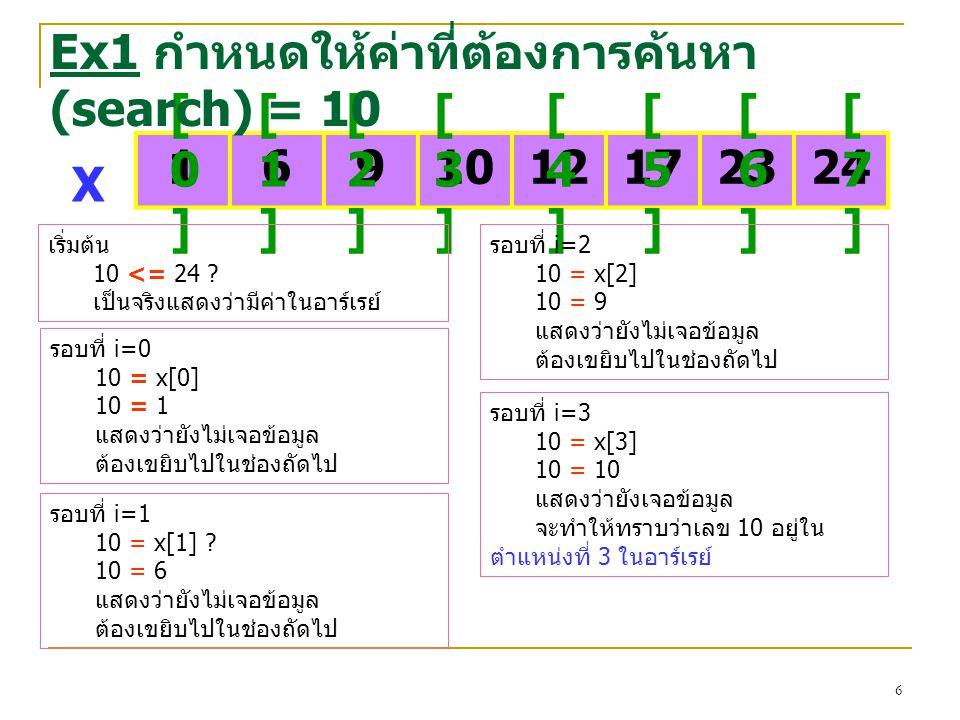 Ex1 กำหนดให้ค่าที่ต้องการค้นหา (search) = 10 [0] [1] [2] [3] [4] [5]